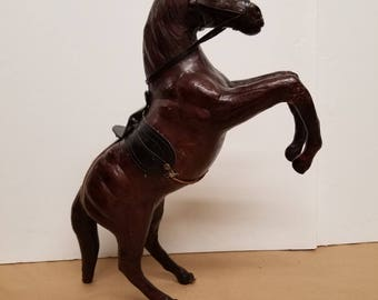 Vintage Leather Rearing Horse