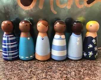 Blue Peg Doll Toy Play Set