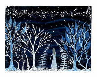 fine art print // fiona and the night forest // giclee print