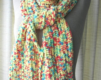 SALE SOFT Chenille HAND Knit Scarf in Yellow multi color
