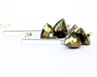 "Pyrite & Sterling Stick Earrings, Pyrite Post Earrings, ""Tria"" Pyrite Earrings in Sterling"
