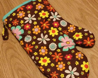 Oven Mitt Insulated Quilted Cooking Baking Brown and Teal Floral