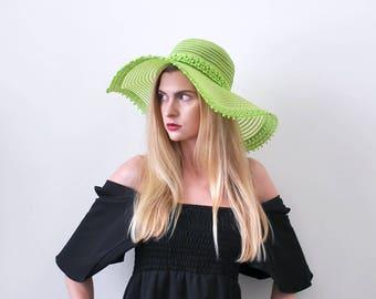 1970's lime green hat. floppy. 70 wide brim hat. boho. bright green sun hat.