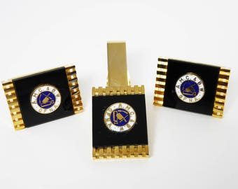 Union Tie Clip & Cuff Links - Vintage AMC BW of NA Meat Cutters Butchers Union - 1972 Florida Convention Fraternal Trade Union Organization
