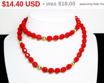 Vintage Red Glass Bead Necklace with Goldtone Accent Beads - Matinee Length Retro Era Faceted Beads