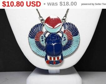 Summer Sizzler Sale Enamel Totem Phoenix Pendant - Necklace - Navy blue, Aqua Blue, Carnelian Red and White - Vintage 1960's 1970's BOHO ...