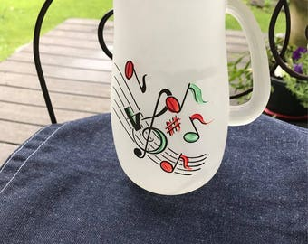 Vintage Glass Pitcher Musical Notes and G Clef on Frosted Glass Party in a Pitcher Perfect for AM Juice or Happy Hour Martinis Hazel Atlas