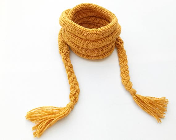 Mustard Yellow Spaghetti Scarf - Sunny Yellow Mustard Scarf, thin scarf, easy-to-wear skinny scarf for spring! Fall scarf Spring scarves