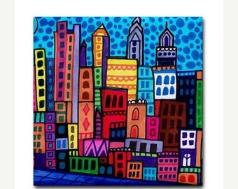 45% Off Today- Philadelphia art Tile Ceramic Coaster Mexican Folk Art Print of painting by Heather Galler dog City Skyline Philly