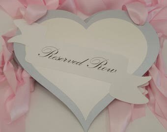 Reserved Pew Signs Heart Shape Design with Banner Romantic Reserved Wedding Ceremony Seating Signs
