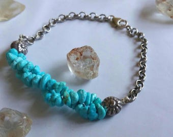 Double Strand Aqua blue Sleeping Beauty Turquoise Gemstone nuggets and Fine Silver Swirl shell Chain bracelet