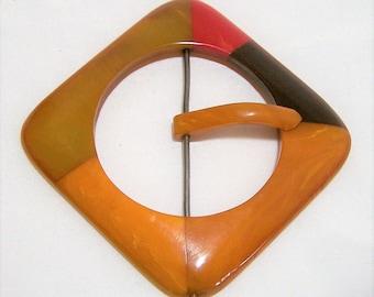 Bakelite Multi Color Mosaic Belt Buckle, Art Deco Buckle,  Butterscotch Red Colors, Large Geometric Buckle, Vintage Accessory  217