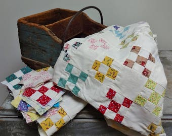 Handmade Partially Finished Cotton Patchwork Baby Quilt