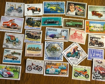 25 Cars Motorcycles race cars trucks Used World Postage Stamps crafting collage cards altered art scrapbooks decoupage collecting philately