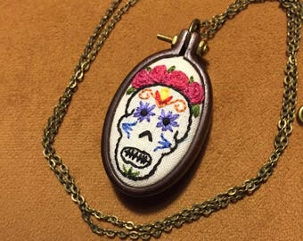 Skull Day of the Dead Frida Necklace embroidered wooden hoop