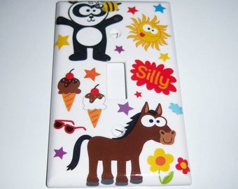 Wide Eyed Summer Fun Single Light Switch Cover, Baby Gift, Nursery, Horse, Panda, Flowers, Ice Cream