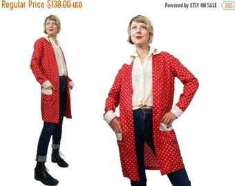 Summer Sale 1920s Silk Red and Bone Colored Polka Dot Duster Jacket