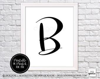 CLEARANCE!! B MONOGRAM print // nursery decor // girls poster, monogram for girl, glamour letter, letter wall art, letter B art, B wall art