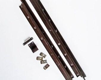 Pair of Mid Century Table Leaf Slides, Table Extension Slides, Salvaged Hardware