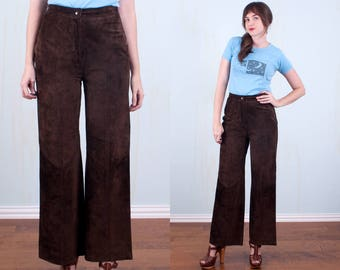 "60's Leather Bell Bottoms Hippie Boho Festival High Waisted Dark Brown Suede Small Medium 29"" Waist"