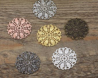 Wholesale 100 Filigree Floral 25mm Round Raw Brass/ Antique Bronze/ Silver/ Gold/ Rose Gold/ White Gold/ Gun-Metal Plated - Z5286