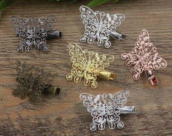 20 Brass Alligator Hair Clips W/ 25x33mm Filigree Butterfly Antique Bronze/ Silver/ Gold/ Rose Gold/ White Gold/ Gun-Metal Plated- Z7214