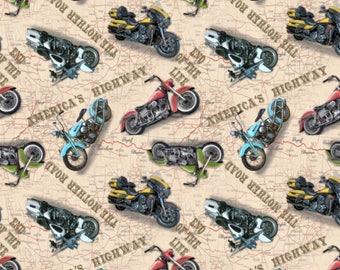 Blank Quilting American Dream Ivory Motorcycles fabric - 1 yard