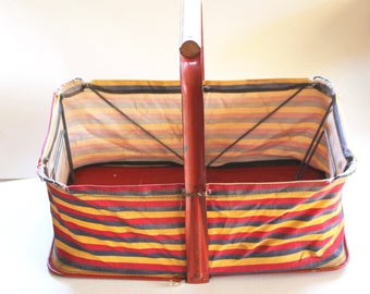 Vintage 1950s Red Metal and Striped Canvas Fold-Up Shopping Basket!