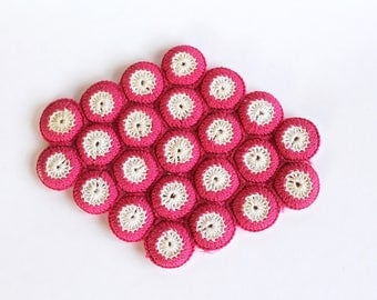 Vintage 1940's/1950's Red and White Crocheted Bottle Cap Trivet