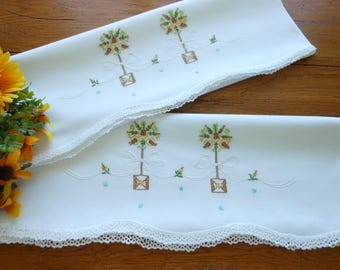 Hand Embroidered Vintage Pillowcases Topiary Design