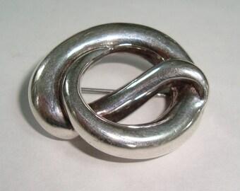 Sterling Silver Pretzel Pin Brooch Marked GS