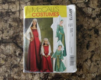 2007 Uncut McCall's Costume Pattern MP273 Children's and Girls' Medieval Costumes Kids Size (3-8)