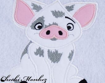 Ready to Ship RTS Boutique Custom Beauty Princess Mona Pua Pig embroidery Applique Patch DIY 5x7