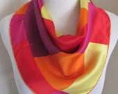 """RESERVED Colorful Scarf Soft Silk Scarf  // 22"""" Inch 56cm Square // Best of the Best"""