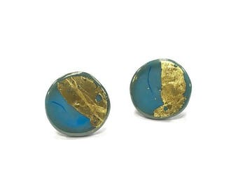 Turquoise Glass and Gold Leaf Stud Earrings