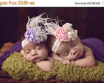 ON SALE Twin Prop, Vintage Style Headband, Baby Girl Headband, Newborn Photo Prop, Photography Prop, Pink Headband, Lavender Headband