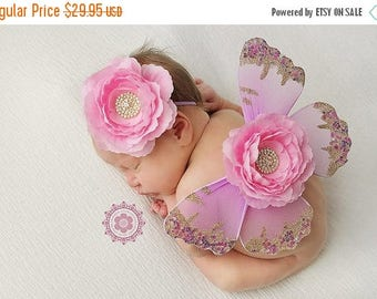 ON SALE NEWBORN Wings, wings and headband set, Angel Wings, newborn photography prop, baby wings, fairy wings Free Shipping