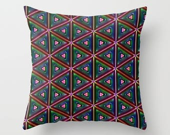 Which Way-- Bohemian Hippie Decor Geometric Pattern Throw  Pillow