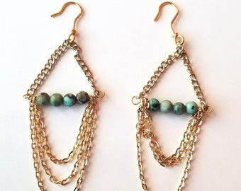 African Turquoise Chandelier Statement Earrings
