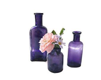Antique Purple Bottle Collection 3 Rustic Old Bottles Purple Medicine Bottles Violet Wedding Decor