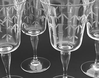 Stemmed Crystal Barware 4 Bamboo Etched Wine Glasses, Stemmed Cocktail Glasses Oriental / Asian Barware