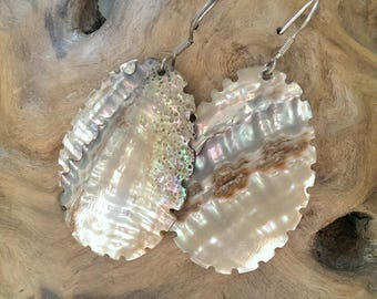 Vintage Abalone Shell Ripple Edge Drop Earrings