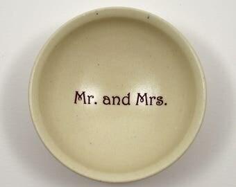 Mr. and Mrs. Ring Dish/ Custom Ring Dish/ White Porcelain Ring Dish/ Wedding Gift