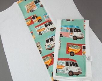 Food Trucks Burp Cloth Set Baby Burp Rag Set Foodie Baby Shower Gift New Baby Gift Under 20 2 Pack Burp Cloth Set