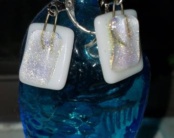 dichroic on white square glass dangle earrings