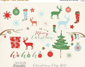 80% Off SALE Christmas Clipart, Digital Clip Art, Digital download, Holiday Vectors, Christmas tree, reindeer, Stocking, Snowflakes, Deer, P