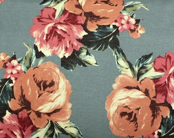 Dusty Teal Dark Peach and Burgundy Floral French Terry Knit Sweatshirt Fabric, 1 Yard