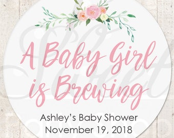 Baby Shower Favors, Stickers, A Baby Girl Is Brewing, Favor Tag Labels, Goodie Bag Stickers, Treat Bag Stickers, Baby Shower - Set of 24
