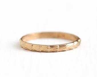 Antique 10k Rose Gold Baby Ring Band - Art Deco 1920s Size 1/2 Tiny Midi Eternity Fan Leaf Children's Dainty Charm Pendant Fine Jewelry