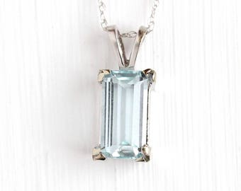 Estate Aquamarine Necklace - 10k White Gold Blue Genuine Gemstone Pendant - Vintage Emerald Cut 1.19 Carat Fine March Birthstone Jewelry